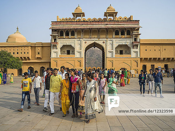 Groups of tourists at Amer Fort; Jaipur  Rajasthan  India