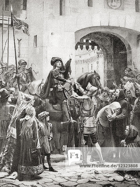 Joan of Arc receives her sword before setting out for Orléans during the siege of 1428–1429. Joan of Arc  c. 1412 -1431  aka The Maid of Orléans. Heroine of France for her role during the Lancastrian phase of the Hundred Years' War and canonized as a Roman Catholic saint. From Hutchinson's History of the Nations  published 1915.