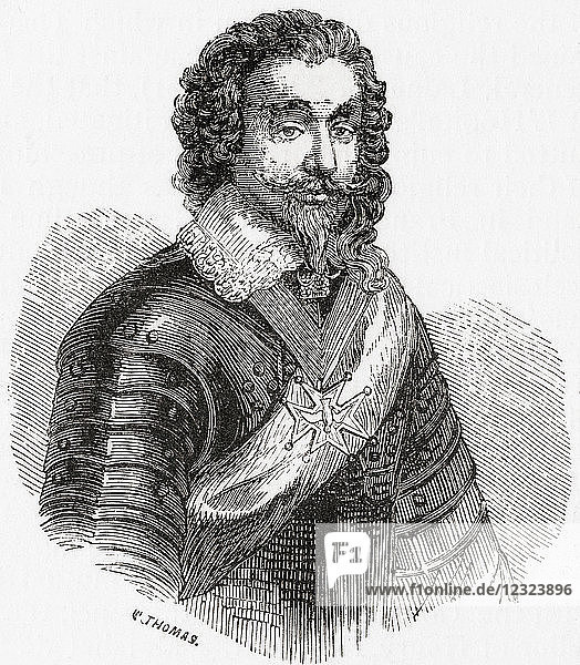 Louis de Bourbon or Louis I  Prince of Condé  1530 – 1569. Prominent Huguenot leader and general  the founder of the House of Condé. From Ward and Lock's Illustrated History of the World  published c.1882.