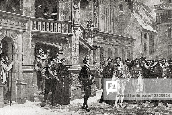 Henry III and the Duke of Guise at The Château de Blois  1588 before the latter's assassination by Henry's bodyguards. Henry III  1551 –1589. King of the Polish-Lithuanian Commonwealth from 1573 to 1575 and King of France. Henry I  Prince of Joinville  Duke of Guise  Count of Eu  1550 – 1588  aka Le Balafré or Scarface. From Hutchinson's History of the Nations  published 1915.