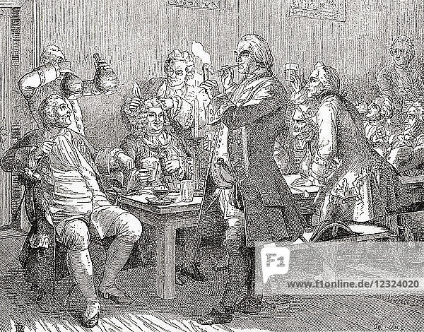 The tobacco club or Tabagie of Frederick William I. A tabagie is a room designated for smoking tobacco and socializing. Frederick William I of Prussia  1688 – 1740  aka Soldier King. King in Prussia and Elector of Brandenburg. From Ward and Lock's Illustrated History of the World  published c.1882.