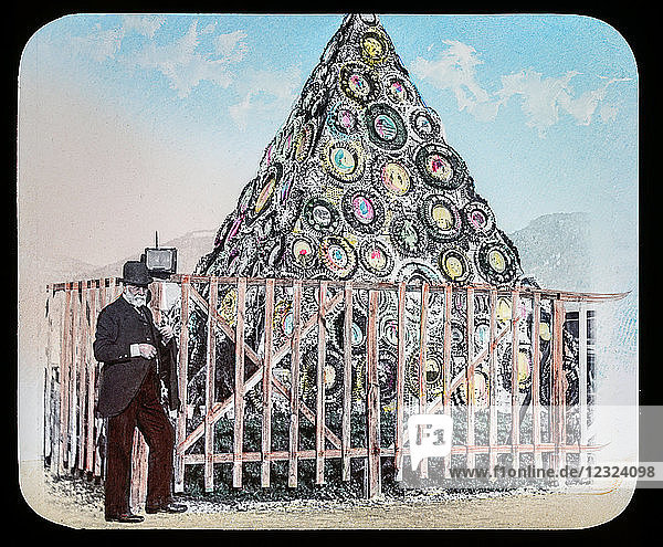 Magic Lantern slide circa 1900. Victorian or Edwardian era. The origional monchrome ( black and white ) photograph hand coloured.The photograph is the work of G.W. Wilson photographer and slide manufacturer 1823-1893.George Washington Wilson (7 February 1823 – 9 March 1893) was a pioneering Scottish photographer. The French Riviera and Monte Carlo (lecture ) .Slide 24 Gambetta's Tomb cemetary Nice.