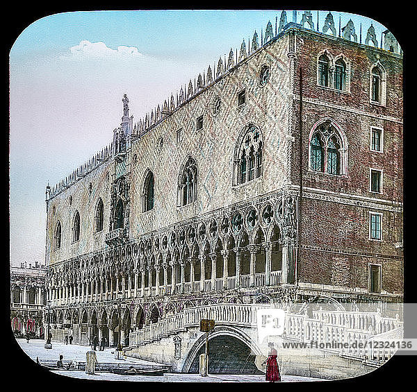 Magic Lantern slide circa 1900 hand coloured. Victorian/Edwardian era. Ducal Palace  The Doge's Palace (Italian: Palazzo Ducale; Venetian: Pa?aso Dogal) is a palace built in Venetian Gothic style  and one of the main landmarks of the city of Venice in northern Italy. The palace was the residence of the Doge of Venice  the supreme authority of the former Republic of Venice  opening as a museum in 1923. Today  it is one of the 11 museums run by the Fondazione Musei Civici di Venezia.