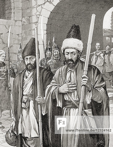 Two monks  with the support of the Byzantine emperor Justinian I  successfully smuggle silkworms into Constantinople by hiding them in bamboo staves  6th century AD. From Hutchinson's History of the Nations  published 1915.