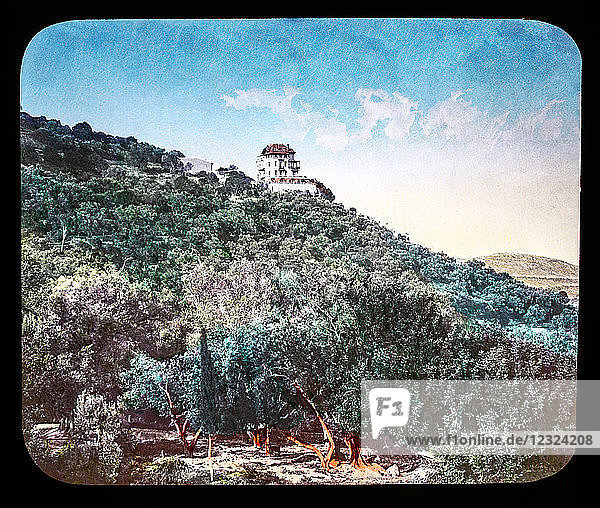 Magic Lantern slide circa 1900. Victorian or Edwardian era. The origional monchrome ( black and white ) photograph hand coloured.The photograph is the work of G.W. Wilson photographer and slide manufacturer 1823-1893.George Washington Wilson (7 February 1823 – 9 March 1893) was a pioneering Scottish photographer. The French Riviera and Monte Carlo (lecture ) .Slide 62 Louis Blanc's house near Monte Carlo. Louis Jean Joseph Charles Blanc 29 October 1811 – 6 December 1882) was a French politician and historian. A socialist who favored reforms,  he called for the creation of cooperatives in order to guarantee employment for the urban poor.