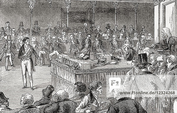Lord John Russell introducing the Reform Bill in the House of Commons in 1832. John Russell  1st Earl Russell  1792 – 1878  aka Lord John Russell before 1861. Leading Whig and Liberal politician and two times Prime Minister of the United Kingdom. From Ward and Lock's Illustrated History of the World  published c.1882.