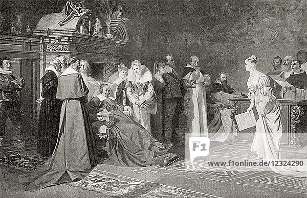 A concert given by Cardinal Richelieu. Cardinal Armand Jean du Plessis  1st Duke of Richelieu and Fronsac  1585 – 1642  aka Cardinal Richelieu. French clergyman  nobleman  and statesman. From Hutchinson's History of the Nations  published 1915.