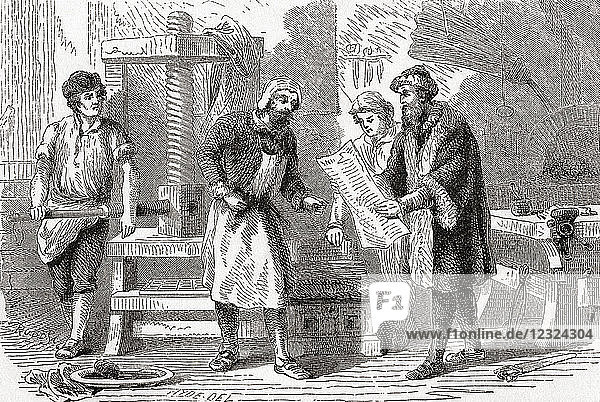 Gutenburg printing the first page of the Bible  1439. Johannes Gensfleisch zur Laden zum Gutenberg  c. 1398 –1468. German blacksmith  goldsmith  printer and publisher who introduced printing to Europe. From Ward and Lock's Illustrated History of the World  published c.1882.