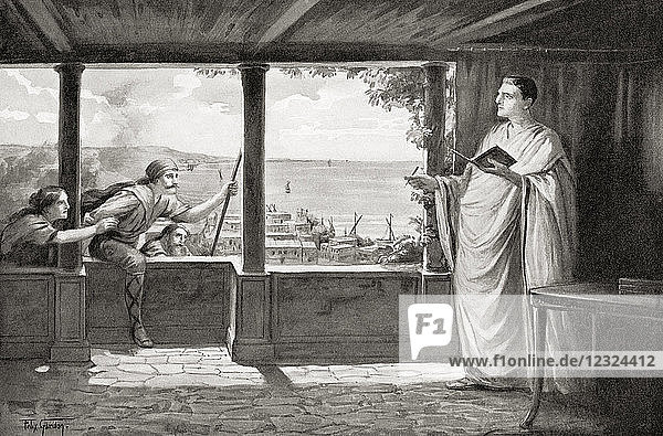Ovid at Tomis  on the Black Sea  where he was banished in 8AD. Publius Ovidius Naso  43 BC – AD 17/18  aka Ovid. Roman poet. From Hutchinson's History of the Nations  published 1915.
