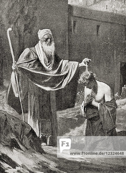Samuel annointing Saul as king of the Kingdom of Israel and Judah. From Hutchinson's History of the Nations  published 1915.