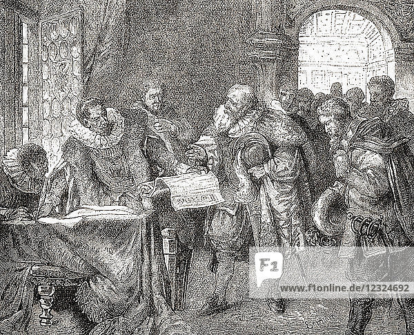 Rudolf II granting the Bohemian Charter aka Letter of Majesty  a 17th-century European document which granted religious tolerance to both Protestant and Catholic citizens living in the estates of Bohemia. Rudolf II  1552 – 1612. Holy Roman Emperor  King of Hungary and Croatia (as Rudolf I)  King of Bohemia and Archduke of Austria. From Ward and Lock's Illustrated History of the World  published c.1882.