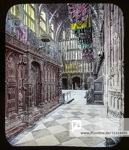 Magic Lantern slide circa 1900 hand coloured views of London  England in Victorian times. Slide 33 Interior Henry VII chapel Westminster Abbey.