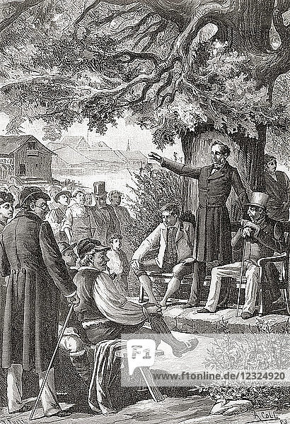 An early meeting of the Swiss Assembly aka Federal Assembly  Switzerland  19th century. From an engraving.
