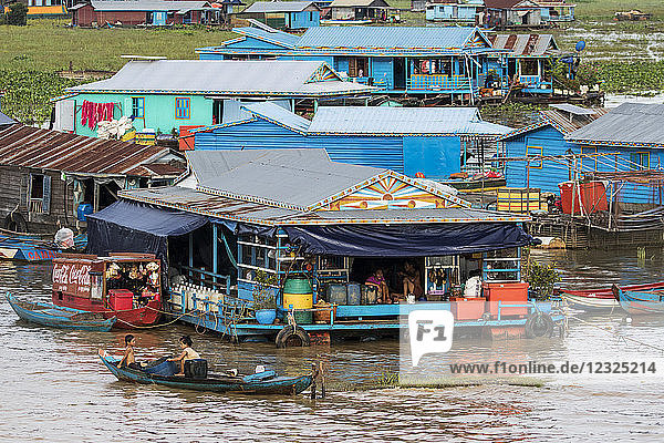 Floating village in the Tonle Sap; Siem Reap  Cambodia