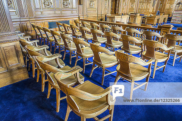 Wooden chairs in rows in the State Supreme Court; Hartford  Connecticut  United States of America