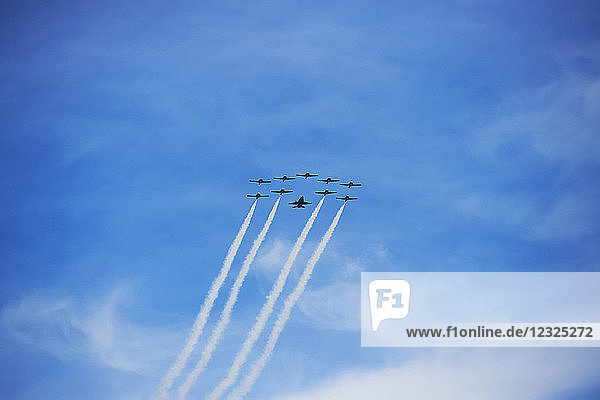 Snowbirds flying in formation at the Toronto Airshow 2017; Toronto  Ontario  Canada