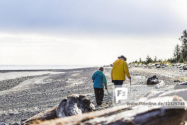 A senior couple hiking with walking sticks on the beach along the coast  Meadow Mist Campground  Graham Island; Tlell  Haida Gwaii  British Columbia  Canada