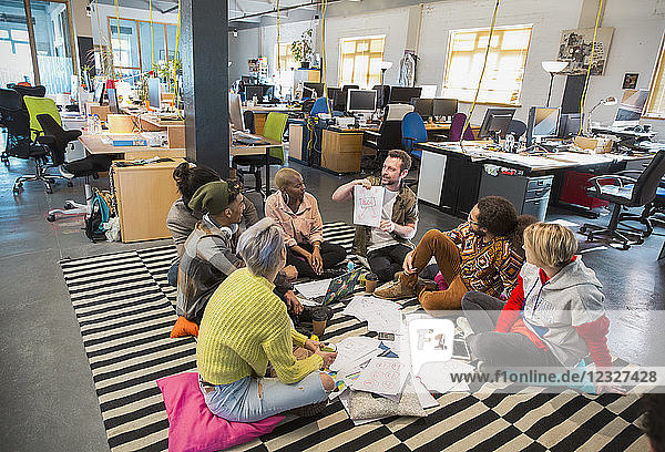 Creative business people meeting  brainstorming in circle on floor in office