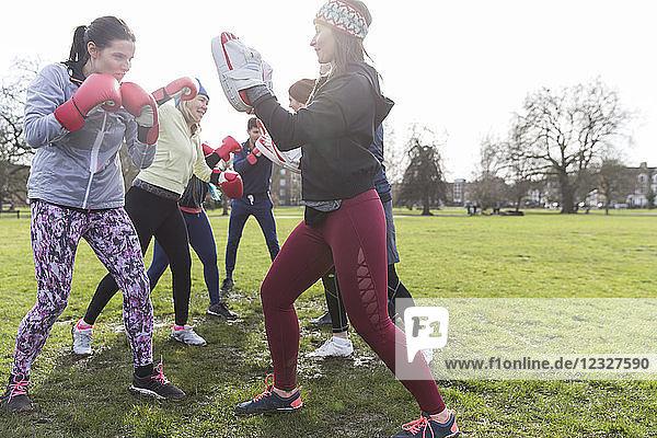 Women boxing in park