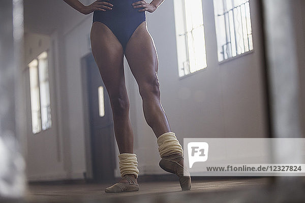 Strong young female ballet dancer practicing in dance studio