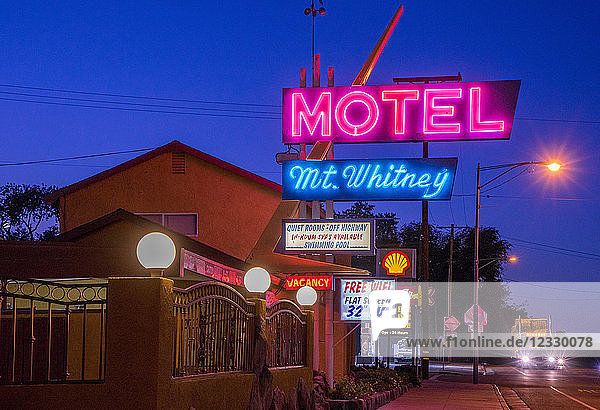 USA  California  Lone Pine  downtown  Motel Mt Whitney illuminated signs by night