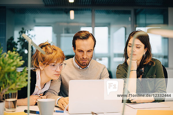 Female colleagues looking at businessman using laptop while sitting at desk in creative office