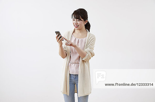 Japanese woman on white background