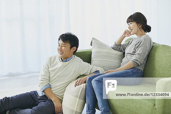 Japanese couple on the sofa