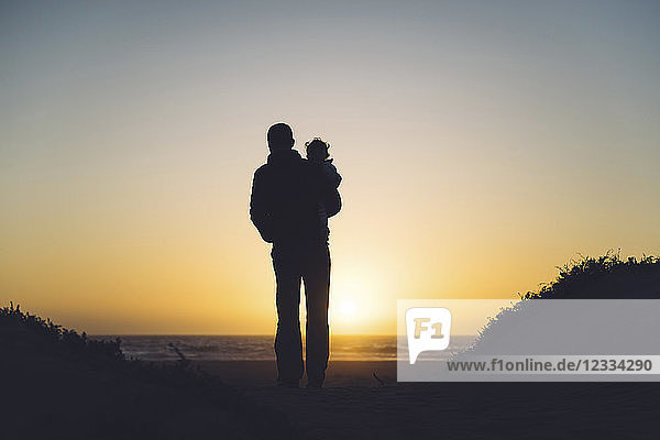 USA  California  Morro Bay  silhouettes of father and baby enjoying sunset on the beach
