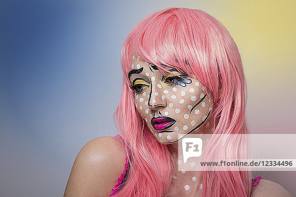 Pop Art portrait of a woman with a pink wig  looking sad
