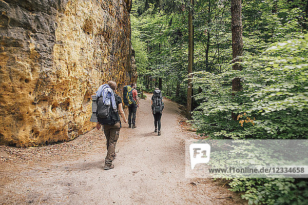 Germany  Saxony  Elbe Sandstone Mountains  friends on a hiking trip