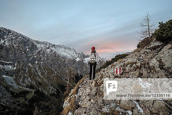 Germany  Bavaria  Berchtesgaden Alps  Schneibstein  female hiker