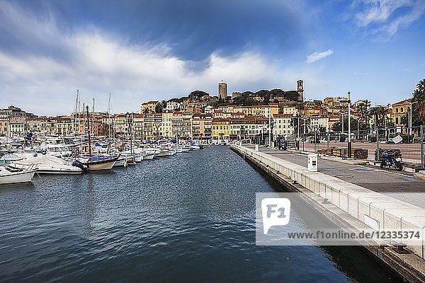 France  Cannes  View to Old Town Le Suquet from Le Vieux Port