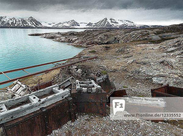 Norway  Spitsbergen  Longyearbyen  old remains of coal mine  transport cart