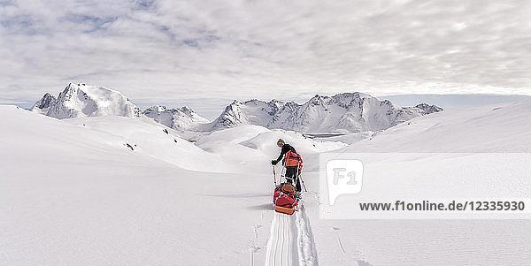 Greenland  Schweizerland Alps  Kulusuk  Tasiilaq  female ski tourer