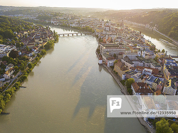 Germany  Bavaria  Passau  city of three rivers  Aerial view of Danube and Inn river