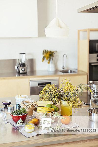 Empty kitchen with fresh fruit on kitchen counter