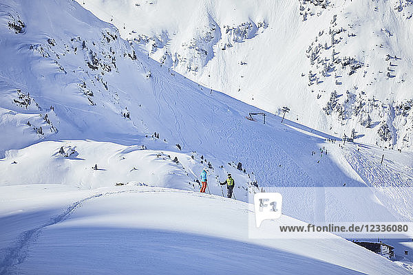 Austria  Tyrol  Kuehtai  two skiers in winter landscape