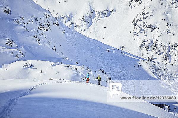 Austria  Tyrol  Kuehtai  two skiers in winter landscape