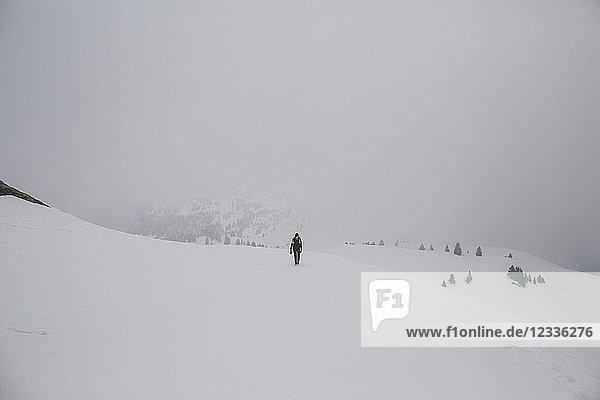 Austria  Kitzbuehel  woman walking in snow-covered landscape