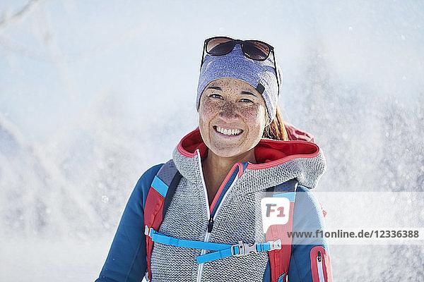 Austria  Tyrol  Portrait of smiling snowshoe hiker
