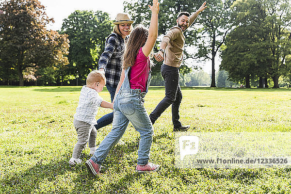 Active happy family in a park