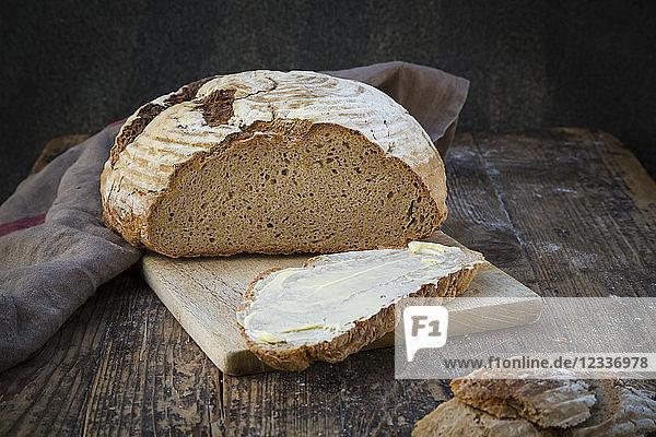 Homemade sourgough rye bread on chopping board