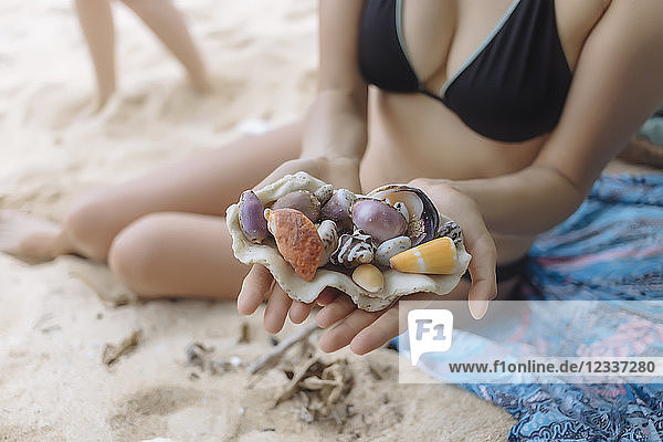 Young woman at the beach holding seashells