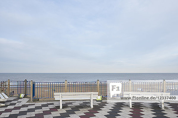 Netherlands  Zandvoort  view terrace with two benches