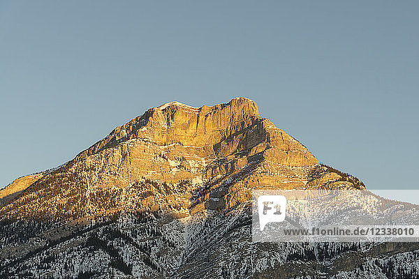 Canada  Alberta  Banff National Park  mountaintop in sunlight