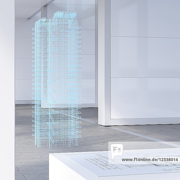 Model of a skyscraper with digital grid  3d rendering