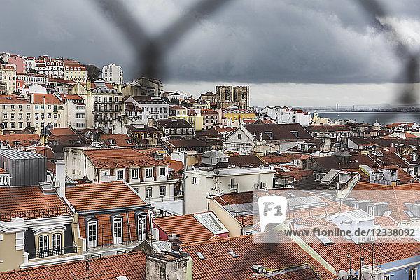 Portugal  Lisbon  cityview through fence