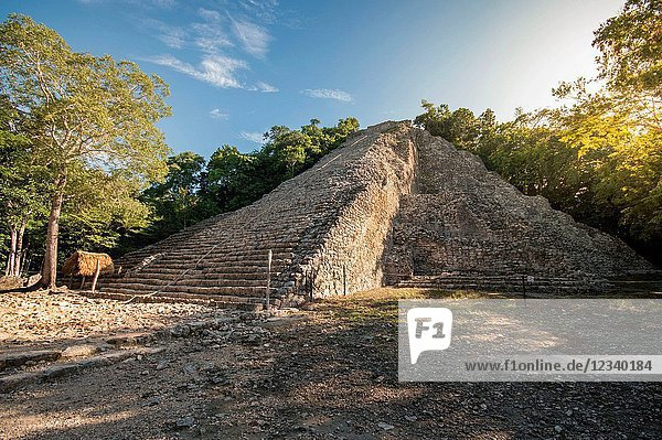 Coba is the longest pyramid in Quintana Roo  Rivera Maya  Mexico and its allowed to be climbed helped by a rope.