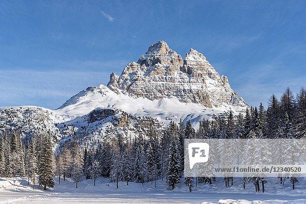 Misurina  Auronzo  province of Belluno  Veneto  Italy  Europe. The peaks of Tre Cime di Lavaredo.